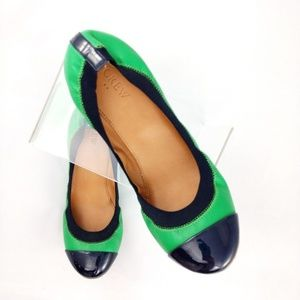 Green and Navy J Crew Ballet Flats- almost new!